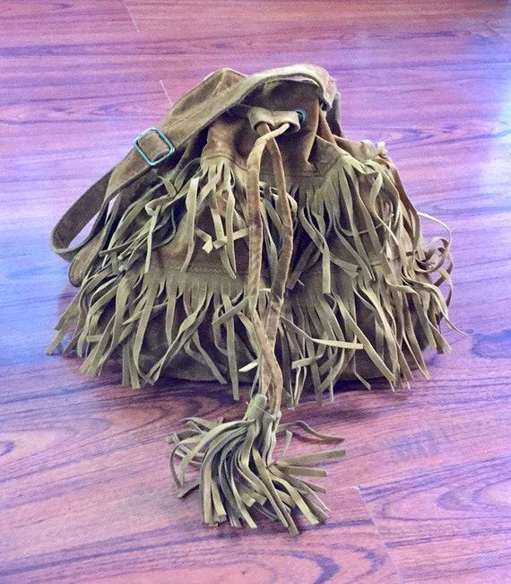 Vintage Suede Fringe Shoulder Bag, Vintage Suede F