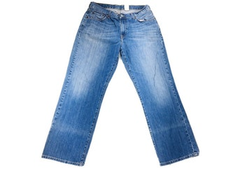 Y2K Vintage Lucky Brand Boot Cut Short Length Flair Leg Denim Jeans 34x28, Vintage Lucky Brand Jeans, Y2K Bootcut Jeans, Y2K Flair Leg Jeans