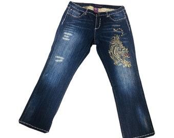 Y2K VINTAGE Women's Ed Hardy Flair Bootcut Rhinestones Tiger Jeans Size 20, Vintage Ed Hardy, Vintage Bootcut Jeans, Y2k Fashion, Y2k Jeans
