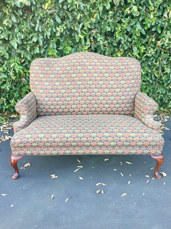 Tremendous Vintage French Provincial Upholstered Settee Farmhouse Upholstered Love Seat Oversized Highback Wingback Sofa Vintage Accent Small Couch Ibusinesslaw Wood Chair Design Ideas Ibusinesslaworg