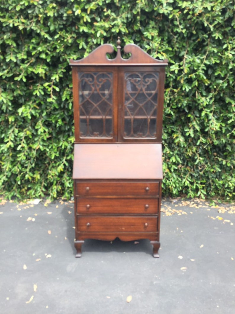 Antique Chippendale Slanted Drop Front Secretary Desk With Etsy