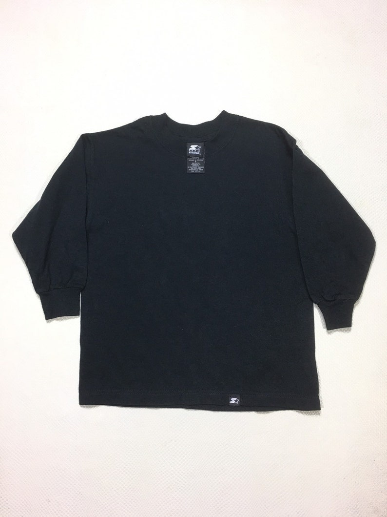 Vintage 90s Team Starter Blank Black Long Sleeve Youth Small Heavy Cotton Blend