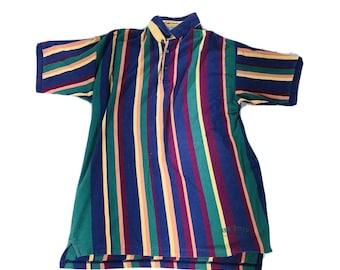 Vintage 90's New River Color Block Polo Shirt L Streetwear Urban Hip Hop