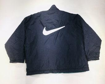 VINTAGE 90s Nike Big Swoosh Reversible Jacket Parka Zip Up Black Green Mens XL, Vintage Nike Jacket, Nike Windbreaker, 90s Nike Jacket, Nike