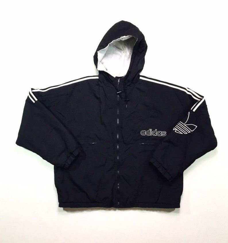90s Vintage ADIDAS Spelled Out Trefoil Big Logo Black Hooded Puffy Jacket Large, 90s ADIDAS Three Stripes Puffy Hooded Jacket L, 90s Adidas