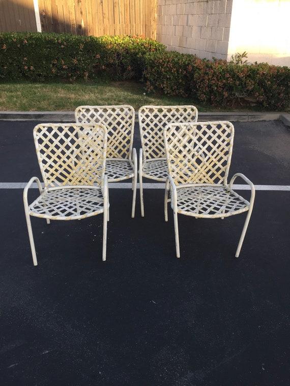 Set Of Four 4 White Brown Jordan Tamiami Patio Chairs Etsy