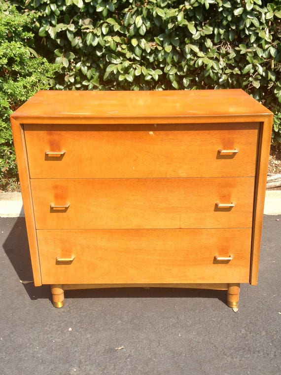 Small Mid Century Living Room: Mid Century Modern Three Drawer Dresser MCM Small Chest Of