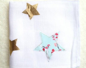 White cotton with blue and silver stars cloth diaper