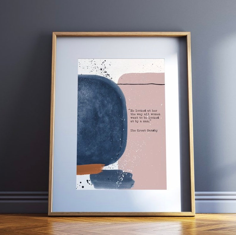 F Scott Fitzgerald Love Quote He Looked at Her Quote F Scott Fitzgerald Artwork Abstract Blush Blue Print Literary Gifts for Women