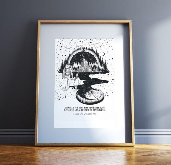 Vatertag Geschenk Baby Dusche Geschenk Monochrome Kindergarten Art Alice Im Wunderland Zitat Kunst Lewis Carroll Zitat Literarische Vater Tochter