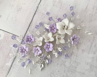 Purple Flower Clip Purple Hair Flower 3.75 Ranunculus Rhinestone Hair Clip Wedding Bridesmaid Flower Girl Purple Hair Clip Bridal Sash Pin
