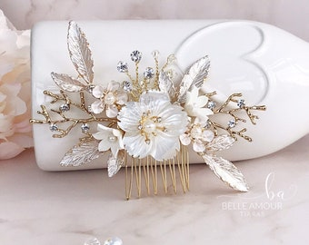 Floral hair comb for wedding Bridal headpiece Brides Flower hair piece  Ivory flower comb Gold hair comb Hair flower Brides hair accessories e1a19d862776