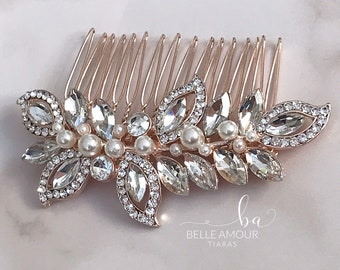 Rose gold comb Bridal hair comb Bridesmaids Brides hair accessory Wedding  hairpiece Crystal head piece Pearl wedding comb b64be041b515