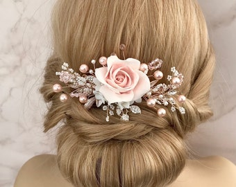 Blush pink hair comb Light pink rose hair comb Floral filigree Antique brass rustic pink hair comb Blush pink wedding bridal hair accessory