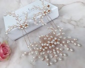 Pearl hair comb Rose gold comb Pearl hairpins Rose gold hair pins Bridal hair accessories Wedding hairpiece Brides headpiece Copper comb