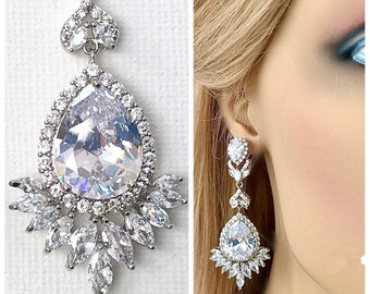 Art Deco earrings, Silver crystal earrings, Wedding  jewelry, Drop earrings, Chandelier earrings, Bridesmaid earrings, Dangle earrings