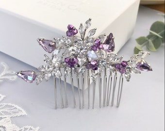 Wedding hair comb, Lilac Silver hair accessories for weddings simulated diamonds Crystal hair comb, Bridesmaids comb, Mother of the bride,