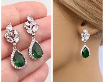 Bridal earrings, Emerald green cubic zirconia earrings for Bride or Bridesmaid , Mother of the bride, Bridal jewelry jewellery,