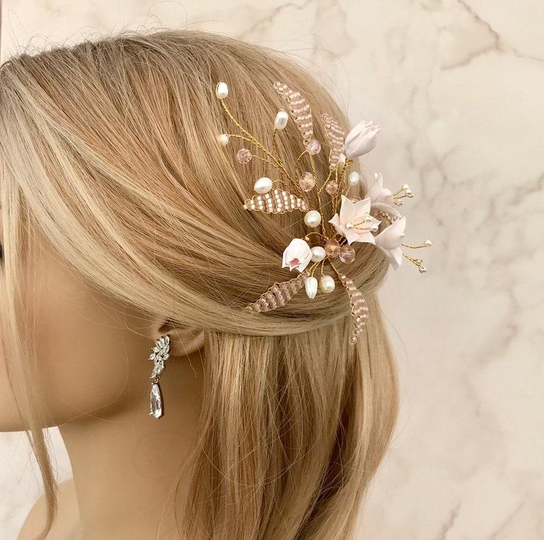 Hair accessory for wedding Blush pink hair pin Bridesmaid hair pin Freshwater pearls hair pin Wedding hair pins Flower hair pin