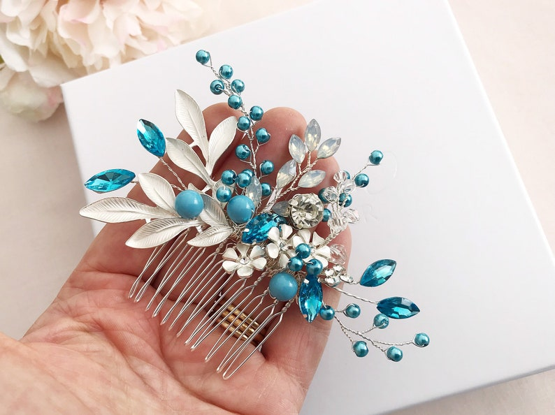 Bridesmaids comb Crystal jewelry Bridal headpiece,Turqouise comb for weddings Pearl bridal comb Silver hair comb Wedding accessories