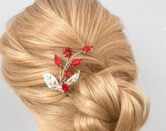 Wedding Hair pin, Red Bridal hair accessories, Brides hair piece, Bridesmaids silver and red hair pin, leaf pins, Christmas red accessories