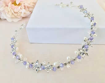 Hair vine,Lilac crystal hairpiece for wedding