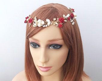 Red  hair vine Wedding hair vine Flower hair vine  Red hair accessories Floral hair vine Red rose hairpiece Winter headpiece Rose hair vine