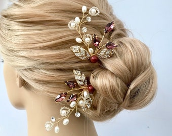 Wedding hair pins, Burgundy crystal hair accessories for the Bride, Bridesmaids or Mother of the bride, Bridal headpiece, Pearl hair pins