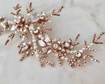 Flower hair clip, Bridal hair piece for wedding,Bridal hair accessories,Wedding hairpiece,Brides headpiece,Rose gold clip,
