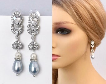 Crystal earrings, Blue Swarovski pearl earrings for wedding, Mother of the Bridesmaid earrings, Bridesmaids gift, Something blue