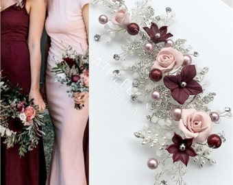 Hair vine, Blush pink & Burgundy Swarovski pearl hairpiece for wedding, with rhinestone encrusted leaves and crystals,bridesmaid hair piece.