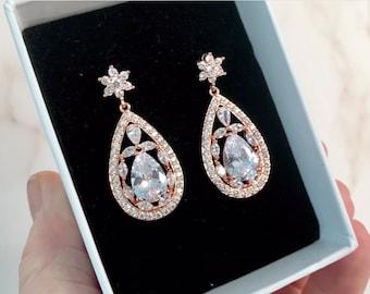 Art Deco earrings, Rose gold earrings, Dangle earrings, Crystal jewelry, Bridesmaid earrings, Wedding earrings, Cubic zircon.