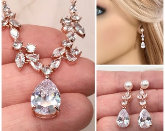 Wedding necklace set , Earrings for Bride with sparkling cubic zirconia , Bridal jewelry, Bridesmaids gifts, Gold jewellery, Pearl earrings,