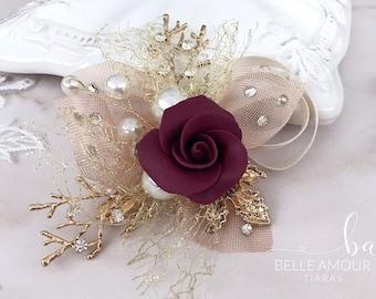 Bridal hair clip Burgundy wedding Wedding hair clip Rose hair clip Bridal hair piece Gold hair accessories Floral headpiece Brides hairpiece