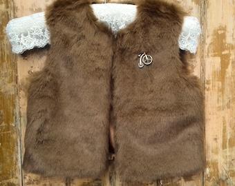 Girl reversible vestflower vest  child vest  liberty style vest  fur vest  shepherd/'s vest  boho chic  7 years  8 years old.