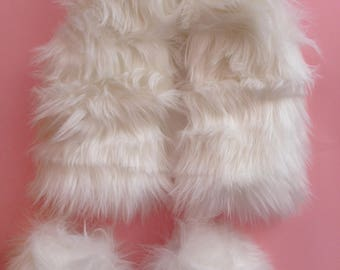 Baby Cute Faux Fur Boots in WhiteNewborn Photo Prop Modern Moccasin Christening Birthday/'s Gift IdeaToddler Fluffy BootsChristmas Gift