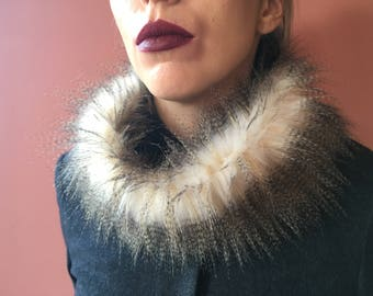 Ladies Faux Fur Infinity Scarf in Exotic Color/Prom/Chic Accessory/Birthday Gift Idea/ Wedding Accessory/Tube scarf