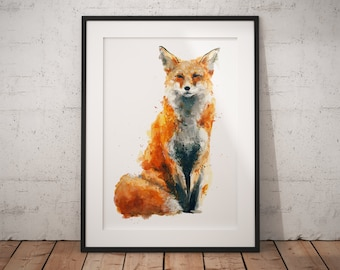 Fox Print | British Wildlife Art | A3 A4 A5 | Fox Lover Gift | Fox Illustration | Fox Painting | Fox Nursery Wall Art | British Animal Print