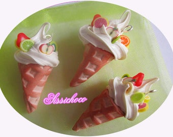 charm ice Italian 3D * tutti frutti * set of 3