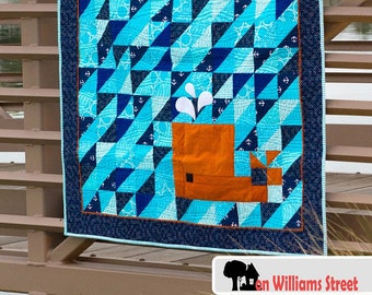 5310-1e whale panel quilt pattern Hoffman CA Fabrics Call of the Wild man quilt Arctic Whales Quilt ePattern