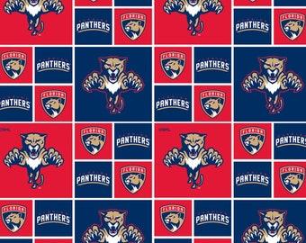 1//2 YARD NHL Original Six Distressed Blocks Logo Allover Cotton Fabric