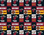 NBA Miami Heat Squares Basketball Team Cotton Fabric By The Half Yard, From Camelot Fabrics