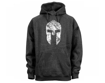 Spartan Warrior Helmet Distressed Look Customized Black Graphic Hoodie Men's Clothing
