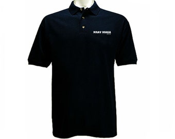Krav Maga English/Hebrew distressed print polo style black collared t-shirt
