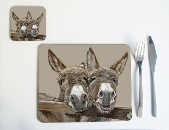 Donkey Placemat Coaster Etsy