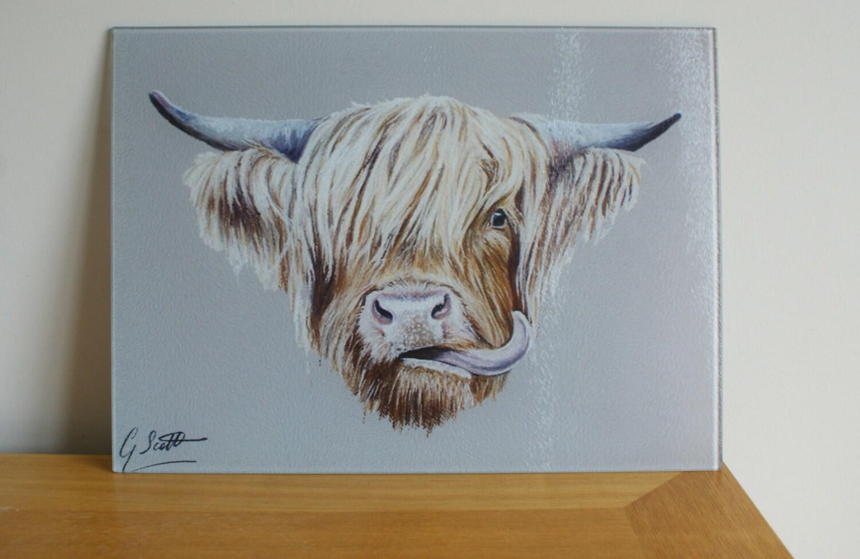 Scottish Highland Cow Chopping Board / Worktop Saver | Etsy