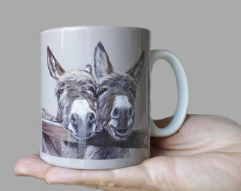 Donkeys Over Gate Ceramic Art Mug By Irish Artist Grace Scott