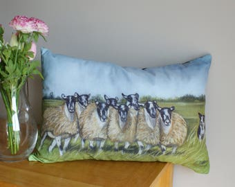 Collie Sheepdog Rounding Sheep Farming Scene Cushion By Artist Grace Scott