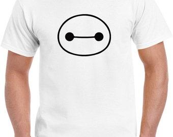 Kids Tshirt Disney movie big hero 6 Baymax head eyes white tee t-shirt tshirt tops short sleeve boys and girls unisex