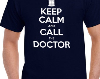 Dr Who Keep calm and call the doctor tee t-shirt tshirt tops short sleeve men women ladies unisex